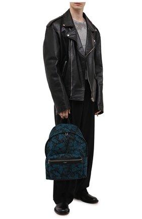 Мужской текстильный рюкзак city SAINT LAURENT синего цвета, арт. 534967/2ND1F | Фото 2 (Материал: Текстиль; Ремень/цепочка: На ремешке)