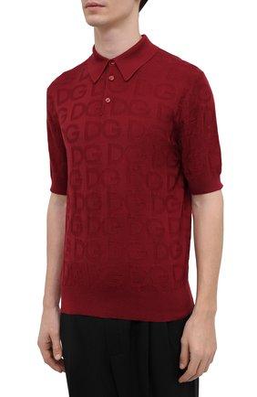 Мужское шелковое поло DOLCE & GABBANA красного цвета, арт. GXD58T/JAS0K | Фото 3