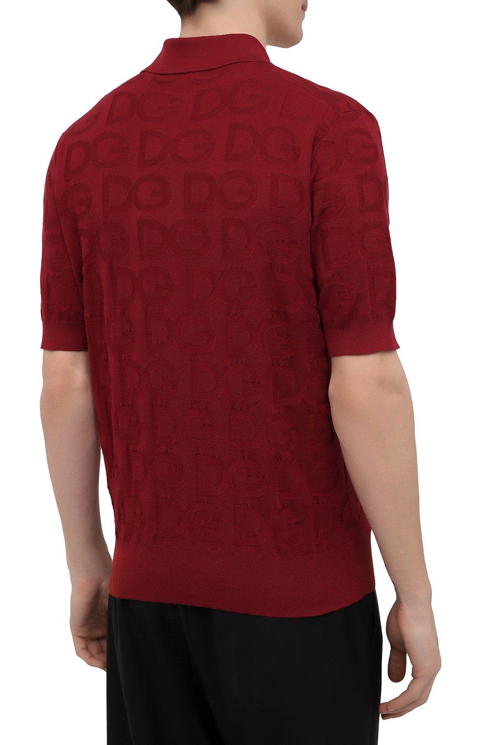 Мужское шелковое поло DOLCE & GABBANA красного цвета, арт. GXD58T/JAS0K | Фото 4