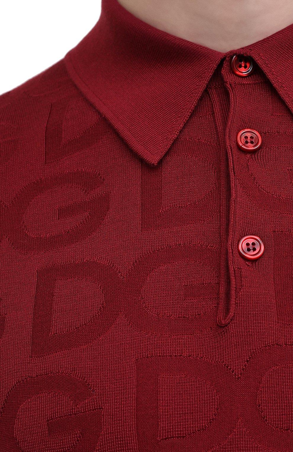 Мужское шелковое поло DOLCE & GABBANA красного цвета, арт. GXD58T/JAS0K | Фото 5
