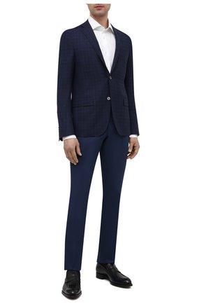 Мужские брюки из хлопка и кашемира CORNELIANI темно-синего цвета, арт. 874B05-1114105/02 | Фото 2 (Длина (брюки, джинсы): Стандартные; Материал внешний: Хлопок; Стили: Кэжуэл; Случай: Повседневный)