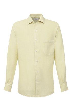 Мужская льняная рубашка LORO PIANA салатового цвета, арт. FAL6255 | Фото 1 (Рукава: Длинные; Материал внешний: Лен; Длина (для топов): Стандартные; Случай: Повседневный; Воротник: Акула; Принт: Однотонные; Манжеты: На пуговицах)