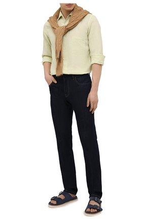 Мужская льняная рубашка LORO PIANA салатового цвета, арт. FAL6255 | Фото 2 (Рукава: Длинные; Материал внешний: Лен; Длина (для топов): Стандартные; Случай: Повседневный; Воротник: Акула; Принт: Однотонные; Манжеты: На пуговицах)
