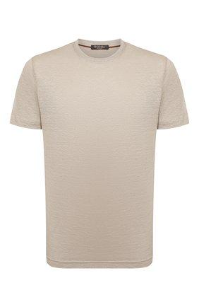 Мужская льняная футболка LORO PIANA бежевого цвета, арт. FAL5748 | Фото 1 (Длина (для топов): Стандартные; Материал внешний: Лен; Рукава: Короткие; Принт: Без принта; Стили: Кэжуэл)