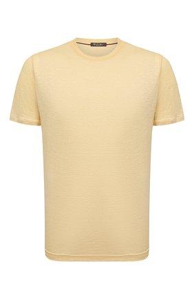 Мужская льняная футболка LORO PIANA желтого цвета, арт. FAL5748 | Фото 1 (Материал внешний: Лен; Длина (для топов): Стандартные; Рукава: Короткие; Стили: Кэжуэл; Принт: Без принта)