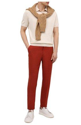 Мужские льняные брюки LORO PIANA красного цвета, арт. FAI6395 | Фото 2