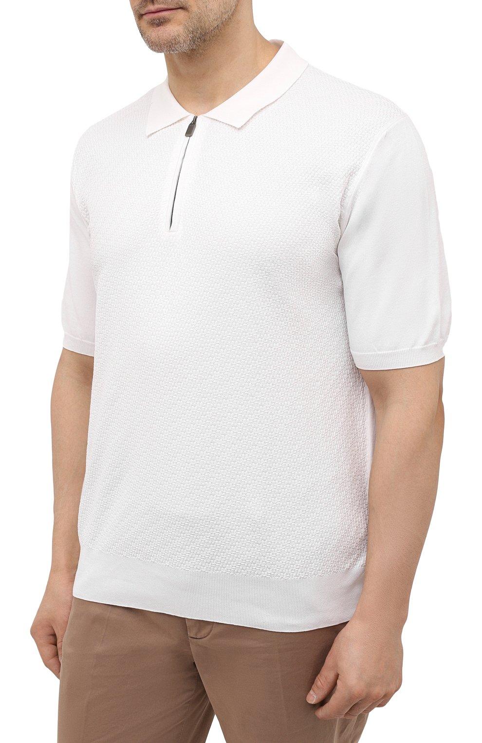 Мужское хлопковое поло CANALI белого цвета, арт. C0765B/MK01132 | Фото 3
