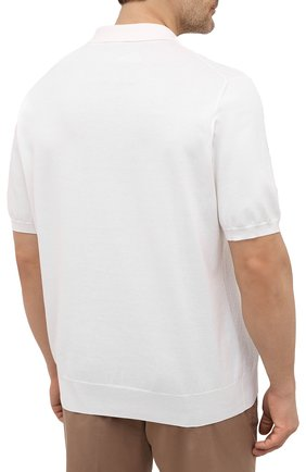 Мужское хлопковое поло CANALI белого цвета, арт. C0765B/MK01132 | Фото 4