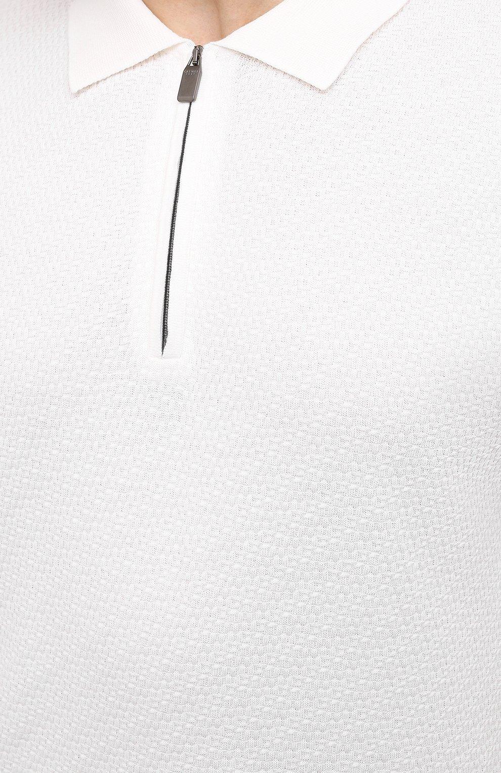 Мужское хлопковое поло CANALI белого цвета, арт. C0765B/MK01132 | Фото 5