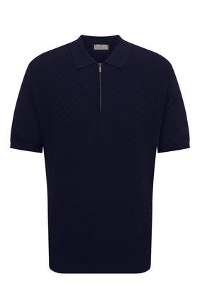 Мужское хлопковое поло CANALI темно-синего цвета, арт. C0765B/MK01132   Фото 1