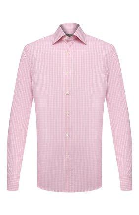 Мужская хлопковая сорочка CANALI розового цвета, арт. NX05/GR01578 | Фото 1 (Материал внешний: Хлопок; Длина (для топов): Стандартные; Рукава: Длинные; Случай: Формальный; Принт: Клетка; Стили: Классический; Манжеты: На пуговицах; Рубашки М: Slim Fit; Воротник: Акула)