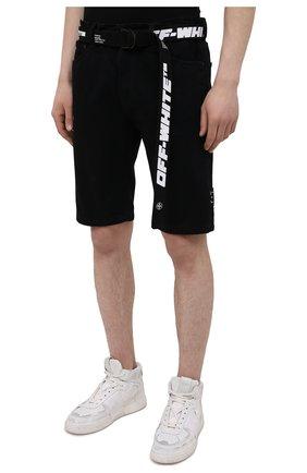 Мужские джинсовые шорты OFF-WHITE черного цвета, арт. 0MYC005S21DEN001   Фото 3 (Кросс-КТ: Деним; Длина Шорты М: Ниже колена; Стили: Гранж; Принт: С принтом; Материал внешний: Хлопок, Деним)