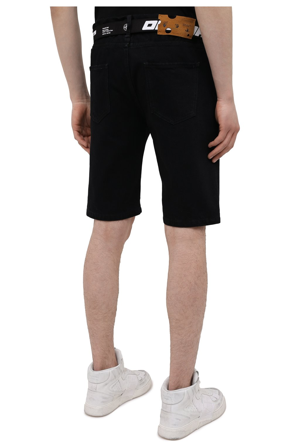 Мужские джинсовые шорты OFF-WHITE черного цвета, арт. 0MYC005S21DEN001   Фото 4 (Кросс-КТ: Деним; Длина Шорты М: Ниже колена; Стили: Гранж; Принт: С принтом; Материал внешний: Хлопок, Деним)