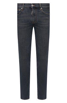 Мужские джинсы OFF-WHITE синего цвета, арт. 0MYA074S21DEN002 | Фото 1 (Материал внешний: Хлопок, Вискоза; Длина (брюки, джинсы): Стандартные; Кросс-КТ: Деним; Детали: Потертости; Стили: Гранж; Силуэт М (брюки): Узкие)