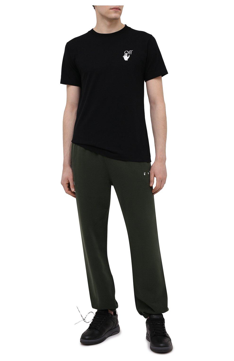 Мужские хлопковые джоггеры OFF-WHITE хаки цвета, арт. 0MCH029S21FLE004   Фото 2 (Мужское Кросс-КТ: Брюки-трикотаж; Длина (брюки, джинсы): Стандартные; Материал внешний: Хлопок; Стили: Спорт-шик; Силуэт М (брюки): Джоггеры)