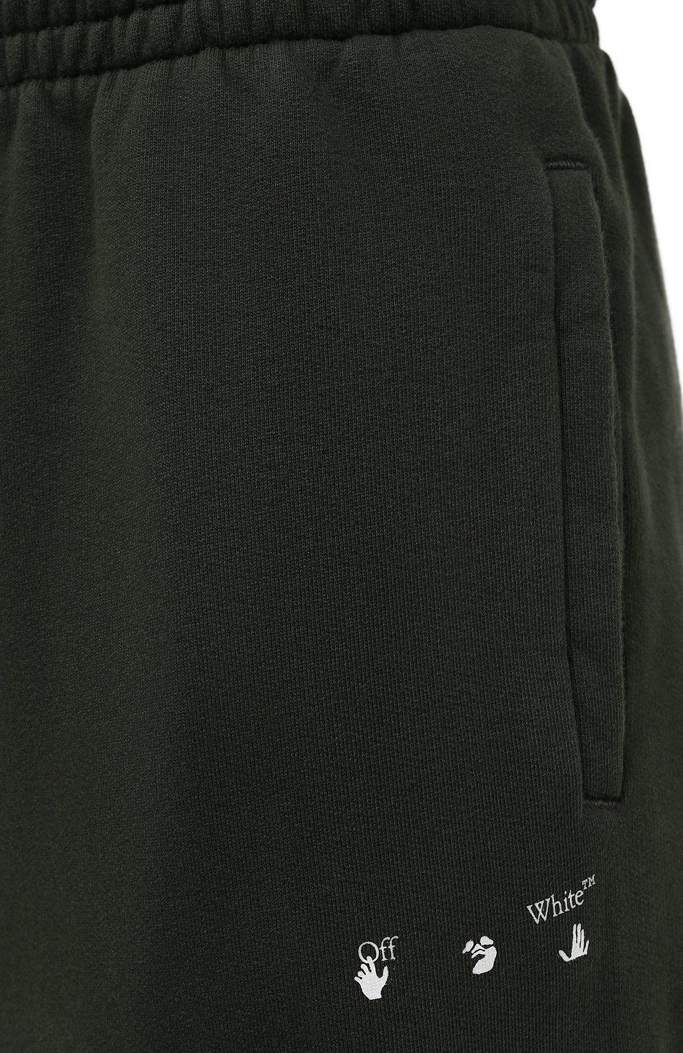Мужские хлопковые джоггеры OFF-WHITE хаки цвета, арт. 0MCH029S21FLE004   Фото 5 (Мужское Кросс-КТ: Брюки-трикотаж; Длина (брюки, джинсы): Стандартные; Материал внешний: Хлопок; Стили: Спорт-шик; Силуэт М (брюки): Джоггеры)
