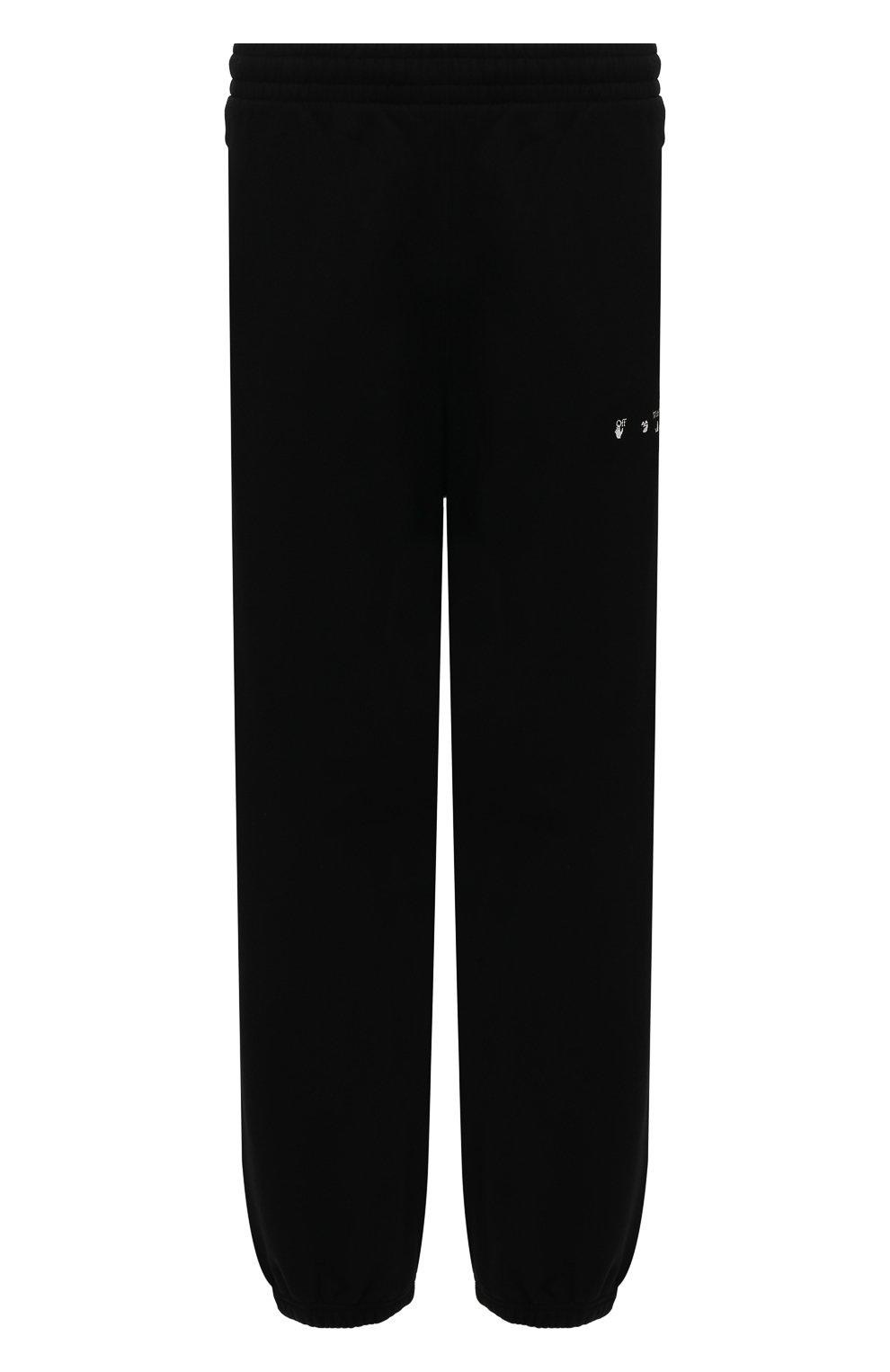 Мужские хлопковые джоггеры OFF-WHITE черного цвета, арт. 0MCH029S21FLE004   Фото 1 (Мужское Кросс-КТ: Брюки-трикотаж; Длина (брюки, джинсы): Стандартные; Материал внешний: Хлопок; Стили: Спорт-шик; Силуэт М (брюки): Джоггеры)