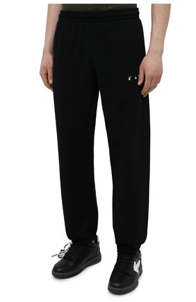 Мужские хлопковые джоггеры OFF-WHITE черного цвета, арт. 0MCH029S21FLE004   Фото 3 (Мужское Кросс-КТ: Брюки-трикотаж; Длина (брюки, джинсы): Стандартные; Материал внешний: Хлопок; Стили: Спорт-шик; Силуэт М (брюки): Джоггеры)