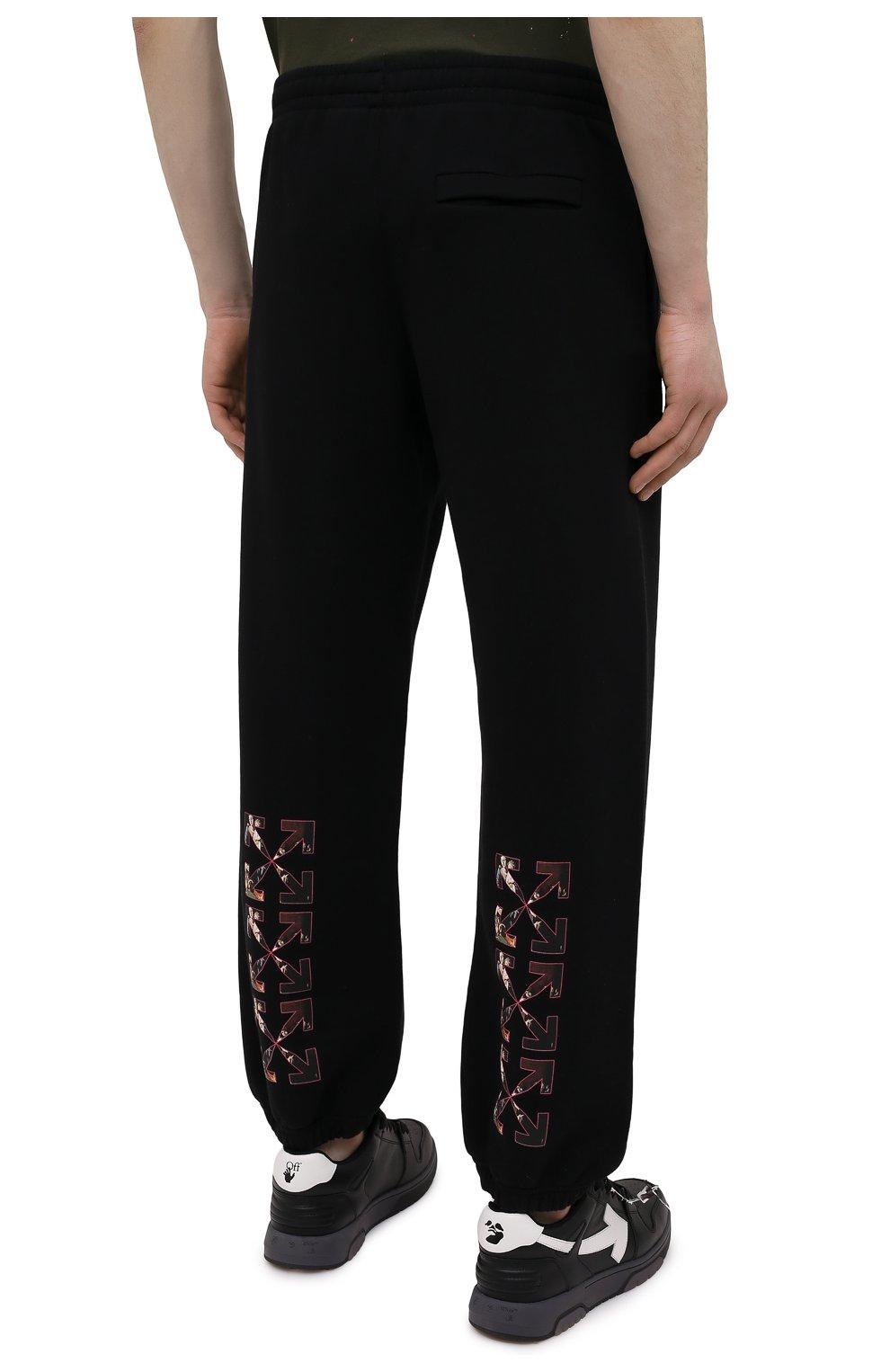 Мужские хлопковые джоггеры OFF-WHITE черного цвета, арт. 0MCH029S21FLE004   Фото 4 (Мужское Кросс-КТ: Брюки-трикотаж; Длина (брюки, джинсы): Стандартные; Материал внешний: Хлопок; Стили: Спорт-шик; Силуэт М (брюки): Джоггеры)