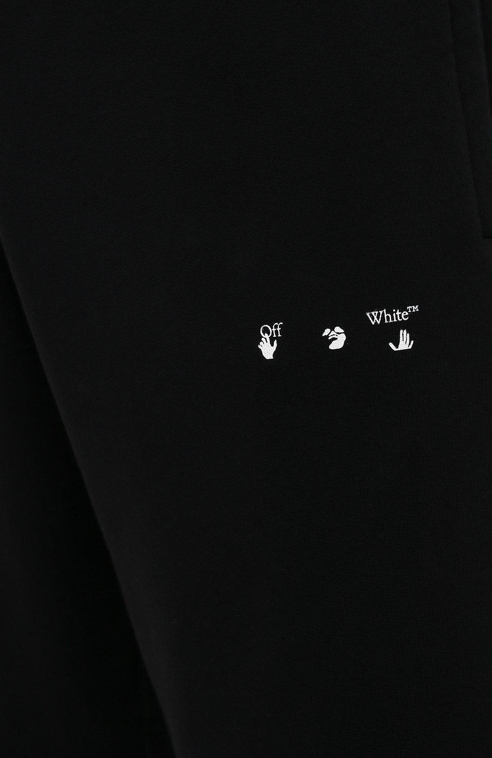 Мужские хлопковые джоггеры OFF-WHITE черного цвета, арт. 0MCH029S21FLE004   Фото 5 (Мужское Кросс-КТ: Брюки-трикотаж; Длина (брюки, джинсы): Стандартные; Материал внешний: Хлопок; Стили: Спорт-шик; Силуэт М (брюки): Джоггеры)