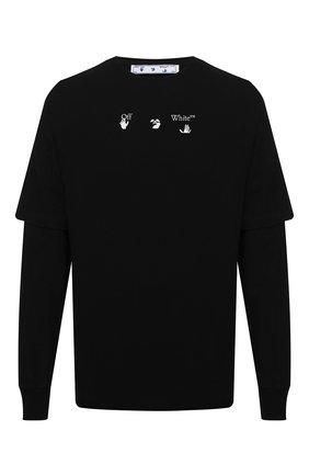 Мужская хлопковый лонгслив OFF-WHITE черного цвета, арт. 0MAB022S21JER003 | Фото 1