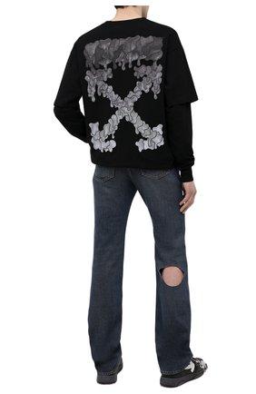 Мужская хлопковый лонгслив OFF-WHITE черного цвета, арт. 0MAB022S21JER003 | Фото 2