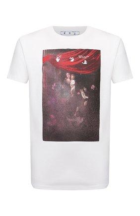 Мужская хлопковая футболка OFF-WHITE белого цвета, арт. 0MAA027S21JER010 | Фото 1 (Материал внешний: Хлопок; Длина (для топов): Стандартные; Рукава: Короткие; Принт: С принтом; Стили: Гранж)
