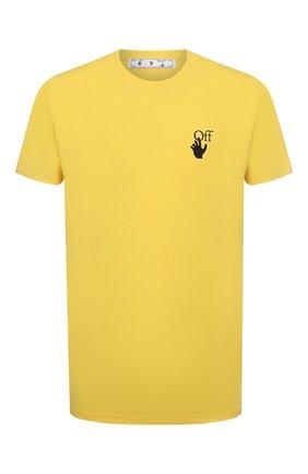 Мужская хлопковая футболка OFF-WHITE желтого цвета, арт. 0MAA027S21JER005 | Фото 1 (Рукава: Короткие; Длина (для топов): Стандартные; Материал внешний: Хлопок; Принт: С принтом; Стили: Гранж)