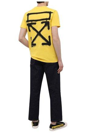 Мужская хлопковая футболка OFF-WHITE желтого цвета, арт. 0MAA027S21JER005 | Фото 2 (Рукава: Короткие; Длина (для топов): Стандартные; Материал внешний: Хлопок; Принт: С принтом; Стили: Гранж)