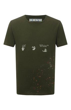 Мужская хлопковая футболка OFF-WHITE хаки цвета, арт. 0MAA027S21JER002   Фото 1