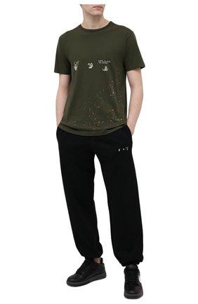 Мужская хлопковая футболка OFF-WHITE хаки цвета, арт. 0MAA027S21JER002   Фото 2