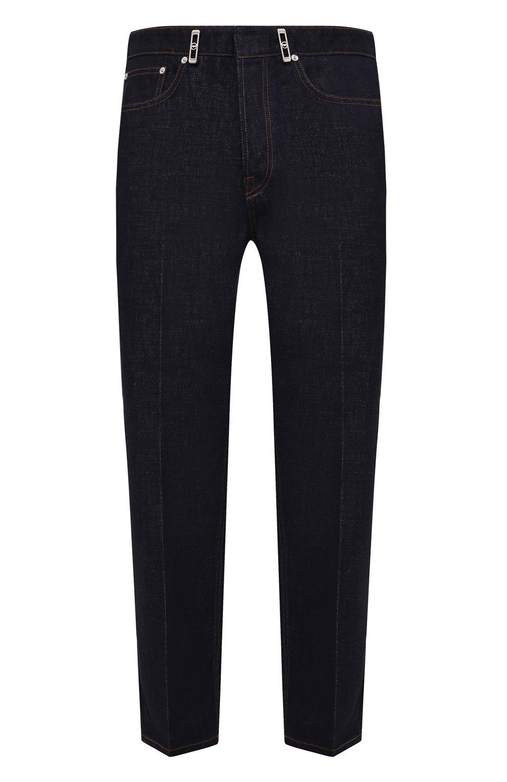 Мужские джинсы LANVIN темно-синего цвета, арт. RM-TR0007-D003-E21   Фото 1 (Силуэт М (брюки): Широкие; Кросс-КТ: Деним; Длина (брюки, джинсы): Стандартные; Материал внешний: Хлопок; Стили: Минимализм)