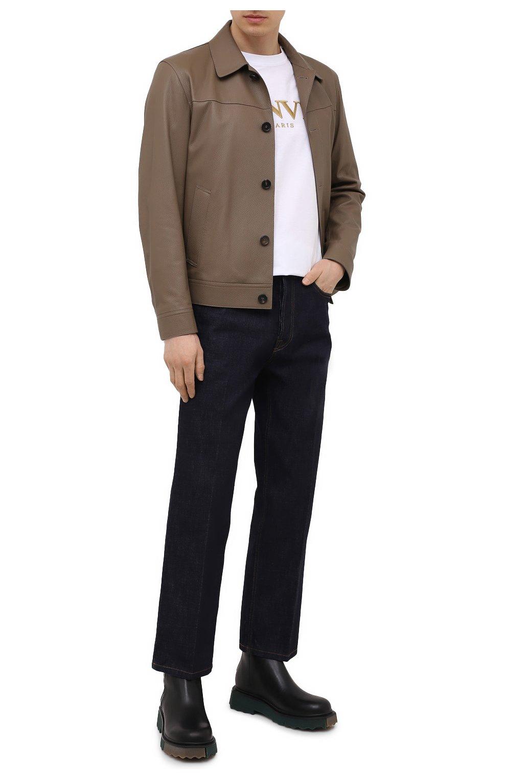 Мужские джинсы LANVIN темно-синего цвета, арт. RM-TR0007-D003-E21   Фото 2 (Силуэт М (брюки): Широкие; Кросс-КТ: Деним; Длина (брюки, джинсы): Стандартные; Материал внешний: Хлопок; Стили: Минимализм)