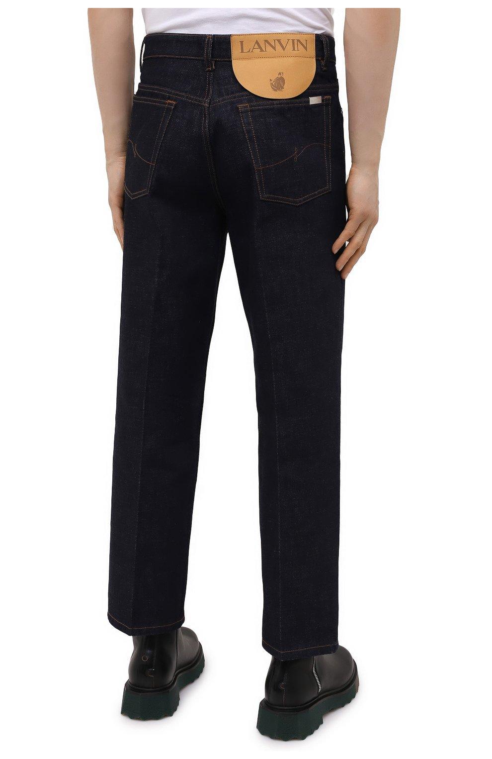 Мужские джинсы LANVIN темно-синего цвета, арт. RM-TR0007-D003-E21   Фото 4 (Силуэт М (брюки): Широкие; Кросс-КТ: Деним; Длина (брюки, джинсы): Стандартные; Материал внешний: Хлопок; Стили: Минимализм)