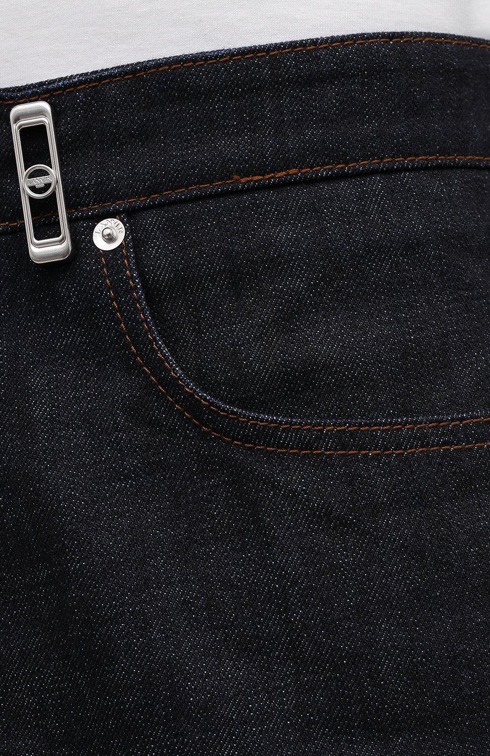 Мужские джинсы LANVIN темно-синего цвета, арт. RM-TR0007-D003-E21   Фото 5 (Силуэт М (брюки): Широкие; Кросс-КТ: Деним; Длина (брюки, джинсы): Стандартные; Материал внешний: Хлопок; Стили: Минимализм)