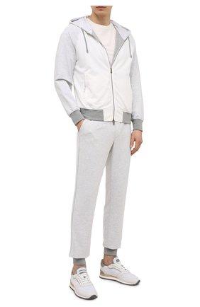Мужские хлопковые джоггеры CAPOBIANCO белого цвета, арт. 10M741.FE00. | Фото 2 (Материал внешний: Хлопок; Длина (брюки, джинсы): Стандартные; Материал подклада: Хлопок; Силуэт М (брюки): Джоггеры; Кросс-КТ: Спорт; Стили: Спорт-шик)