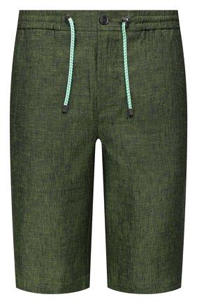 Мужские льняные шорты CAPOBIANCO зеленого цвета, арт. 10M852.LI00. | Фото 1