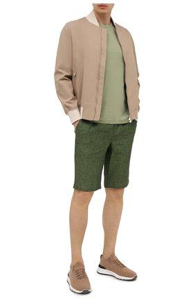Мужские льняные шорты CAPOBIANCO зеленого цвета, арт. 10M852.LI00. | Фото 2