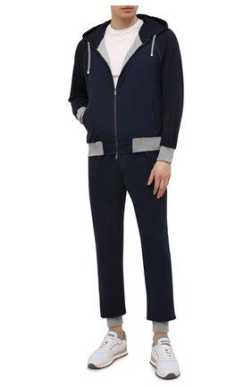 Мужской хлопковый спортивный костюм CAPOBIANCO темно-синего цвета, арт. 10MT01.FEF1.   Фото 1 (Материал внешний: Хлопок; Рукава: Длинные; Кросс-КТ: Спорт; Материал подклада: Хлопок)