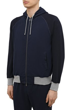 Мужской хлопковый спортивный костюм CAPOBIANCO темно-синего цвета, арт. 10MT01.FEF1.   Фото 2 (Материал внешний: Хлопок; Рукава: Длинные; Кросс-КТ: Спорт; Материал подклада: Хлопок)
