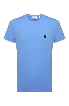 Мужская хлопковая футболка BURBERRY синего цвета, арт. 8040061 | Фото 1