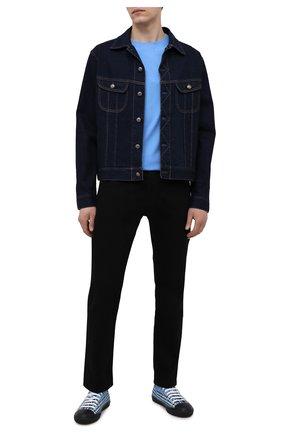 Мужская хлопковая футболка BURBERRY синего цвета, арт. 8040061 | Фото 2