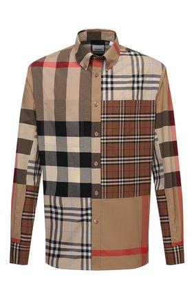 Мужская хлопковая рубашка BURBERRY бежевого цвета, арт. 8038638 | Фото 1