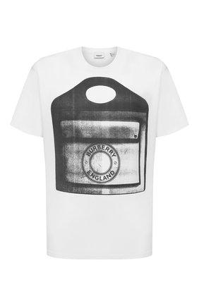 Мужская хлопковая футболка BURBERRY белого цвета, арт. 4567622 | Фото 1