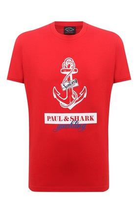Мужская хлопковая футболка PAUL&SHARK красного цвета, арт. 21411081/C00 | Фото 1