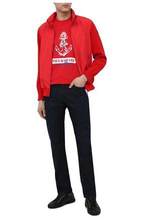 Мужская хлопковая футболка PAUL&SHARK красного цвета, арт. 21411081/C00 | Фото 2
