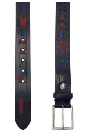 Мужской кожаный ремень PAUL&SHARK темно-синего цвета, арт. 21416009/HM7 | Фото 2