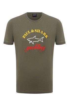 Мужская хлопковая футболка PAUL&SHARK хаки цвета, арт. C0P1006/C00 | Фото 1