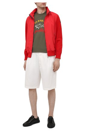 Мужская хлопковая футболка PAUL&SHARK хаки цвета, арт. C0P1006/C00 | Фото 2