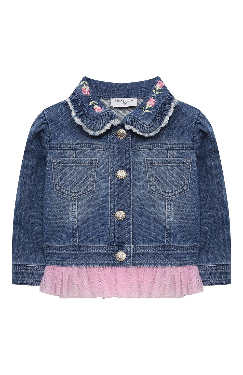 Детского джинсовая куртка MONNALISA синего цвета, арт. 397101R5. | Фото 1